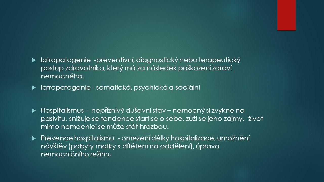  Iatropatogenie -preventivní, diagnostický nebo terapeutický postup zdravotníka, který má za následek poškození zdraví nemocného.  Iatropatogenie -