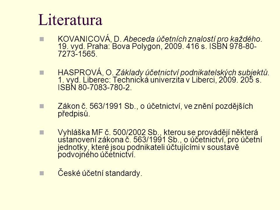 Literatura KOVANICOVÁ, D. Abeceda účetních znalostí pro každého. 19. vyd. Praha: Bova Polygon, 2009. 416 s. ISBN 978-80- 7273-1565. HASPROVÁ, O. Zákla