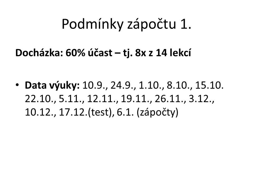 Podmínky zápočtu 1. Docházka: 60% účast – tj. 8x z 14 lekcí Data výuky: 10.9., 24.9., 1.10., 8.10., 15.10. 22.10., 5.11., 12.11., 19.11., 26.11., 3.12