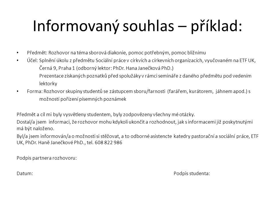 Informovaný souhlas – příklad: Předmět: Rozhovor na téma sborová diakonie, pomoc potřebným, pomoc bližnímu Účel: Splnění úkolu z předmětu Sociální prá