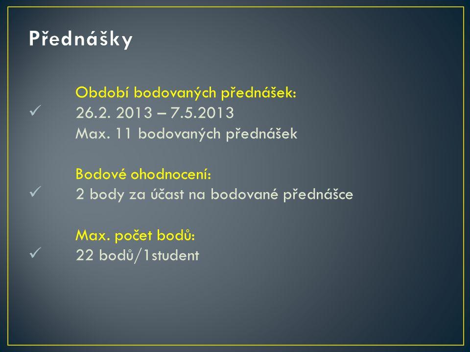 Období bodovaných přednášek: 26.2. 2013 – 7.5.2013 Max.