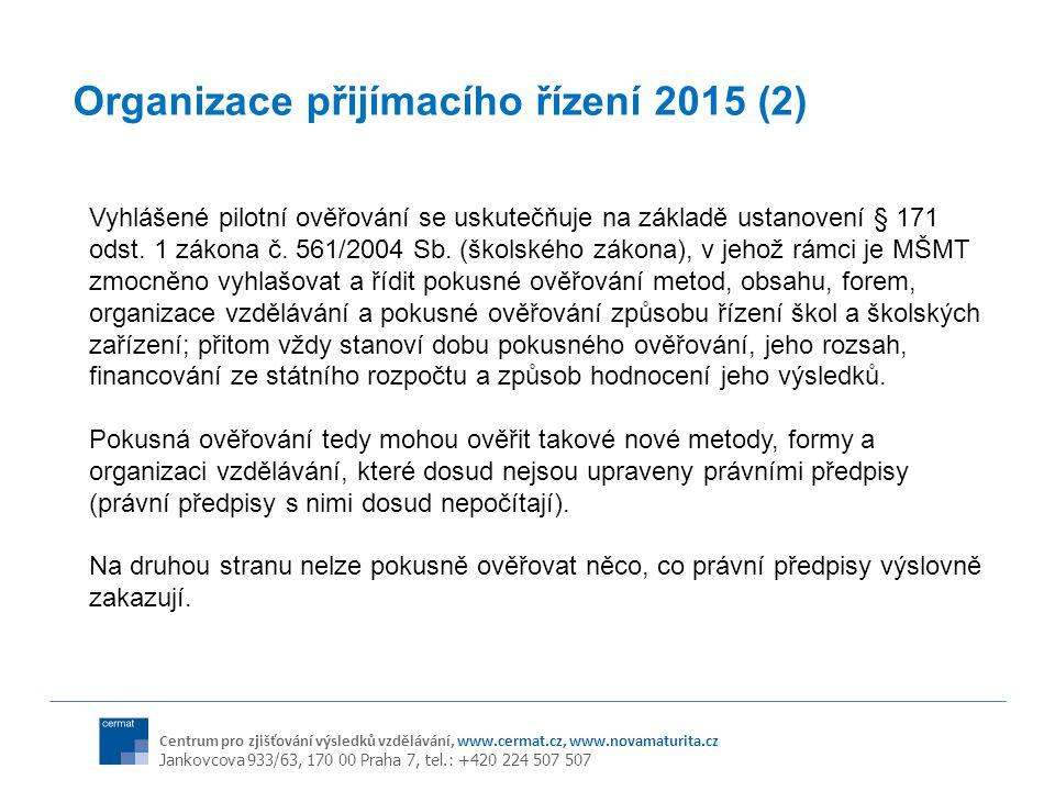 Centrum pro zjišťování výsledků vzdělávání, www.cermat.cz, www.novamaturita.cz Jankovcova 933/63, 170 00 Praha 7, tel.: +420 224 507 507 Organizace přijímacího řízení 2015 (2) Vyhlášené pilotní ověřování se uskutečňuje na základě ustanovení § 171 odst.