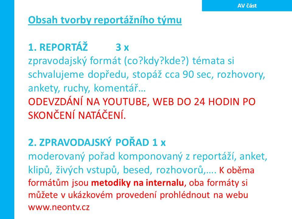 Obsah tvorby reportážního týmu 1. REPORTÁŽ3 x zpravodajský formát (co?kdy?kde?) témata si schvalujeme dopředu, stopáž cca 90 sec, rozhovory, ankety, r