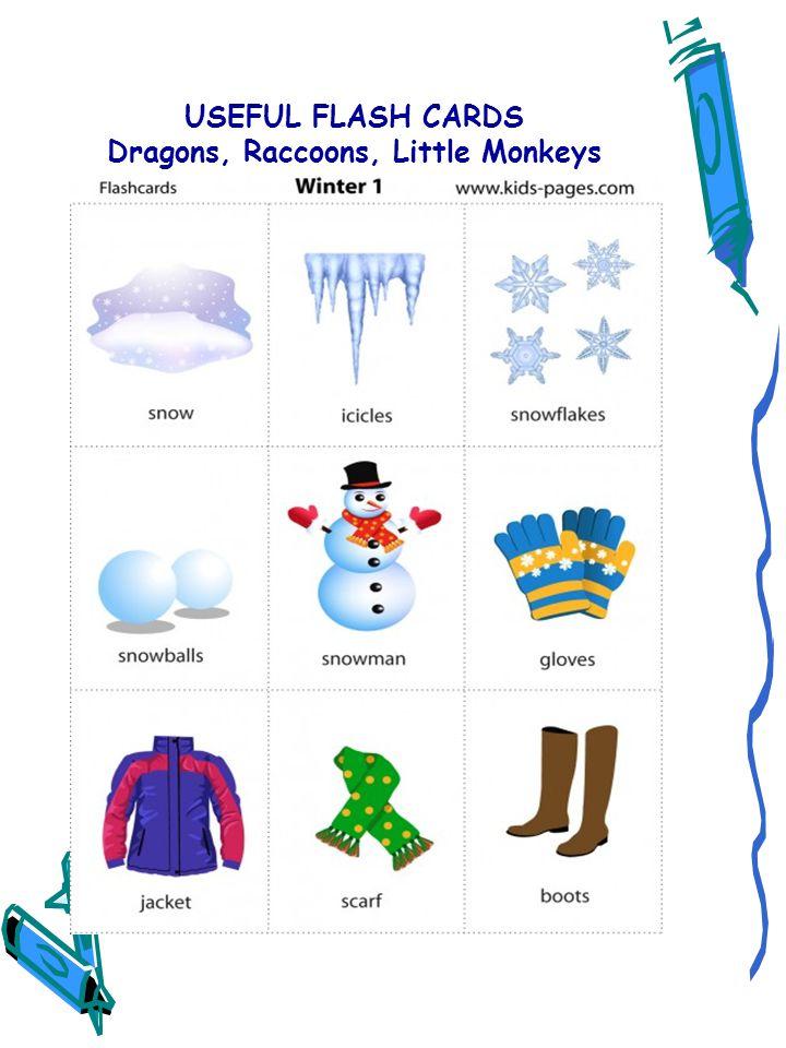USEFUL FLASH CARDS Dragons, Raccoons