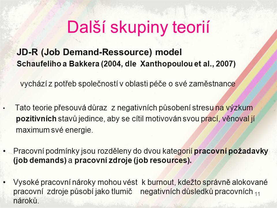 Další skupiny teorií JD-R (Job Demand-Ressource) model Schaufeliho a Bakkera (2004, dle Xanthopoulou et al., 2007) vychází z potřeb společností v obla