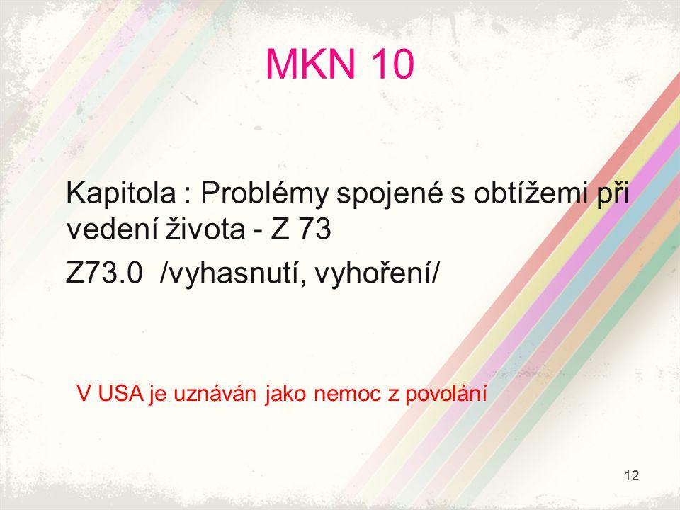MKN 10 Kapitola : Problémy spojené s obtížemi při vedení života - Z 73 Z73.0 /vyhasnutí, vyhoření/ V USA je uznáván jako nemoc z povolání 12