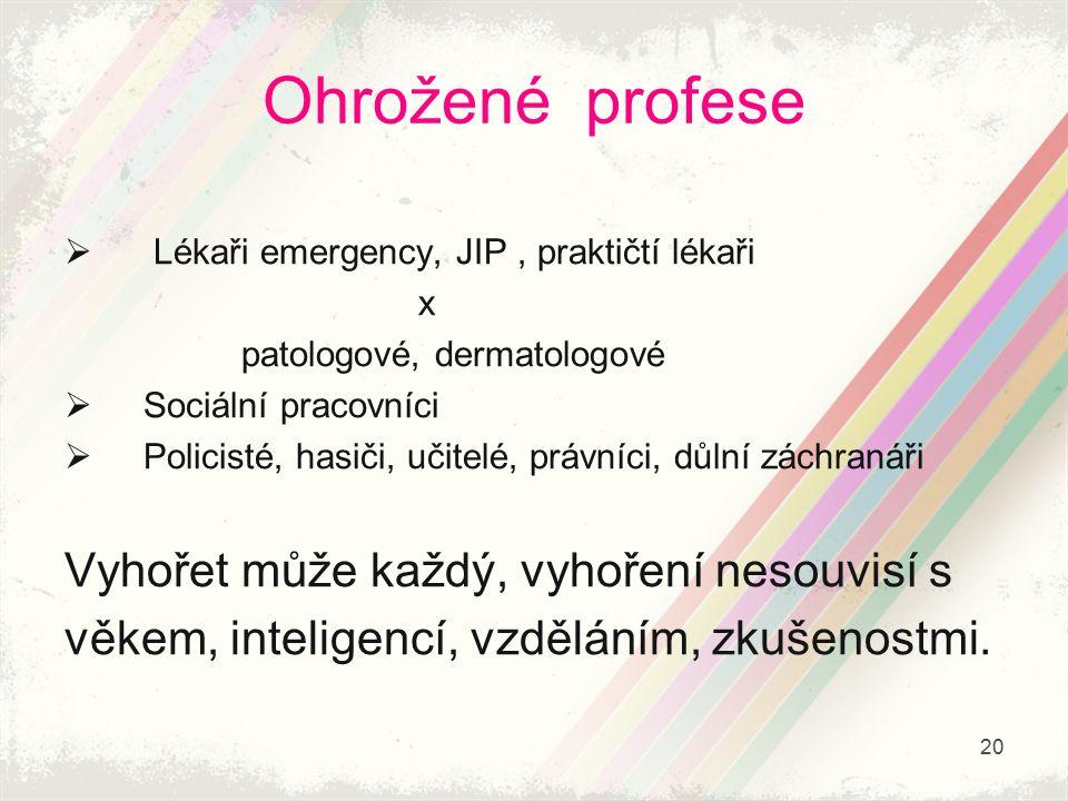 Ohrožené profese  Lékaři emergency, JIP, praktičtí lékaři x patologové, dermatologové  Sociální pracovníci  Policisté, hasiči, učitelé, právníci, d