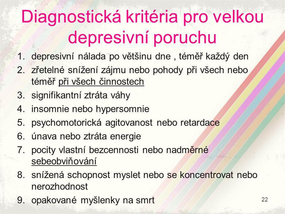 Diagnostická kritéria pro velkou depresivní poruchu 1.depresivní nálada po většinu dne, téměř každý den 2.zřetelné snížení zájmu nebo pohody při všech