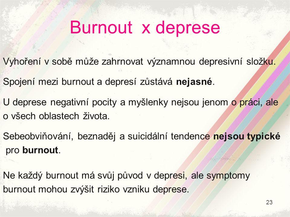 Burnout x deprese Vyhoření v sobě může zahrnovat významnou depresivní složku. Spojení mezi burnout a depresí zůstává nejasné. U deprese negativní poci