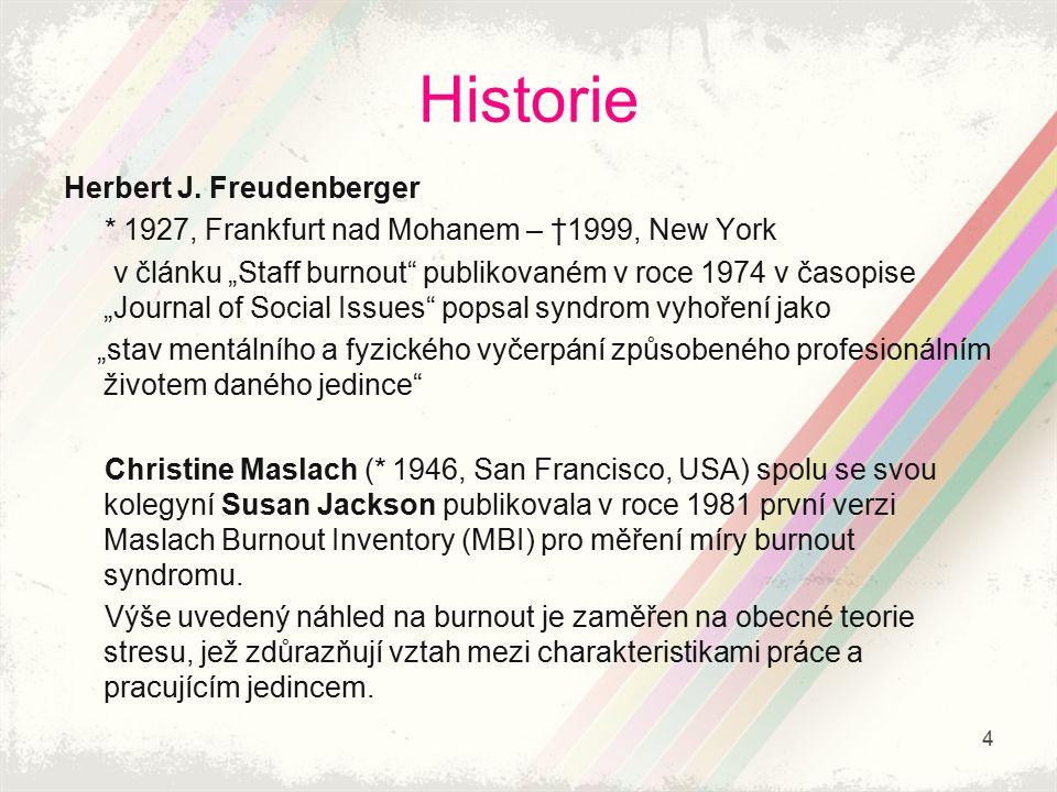 """Historie Herbert J. Freudenberger * 1927, Frankfurt nad Mohanem – †1999, New York v článku """"Staff burnout"""" publikovaném v roce 1974 v časopise """"Journa"""
