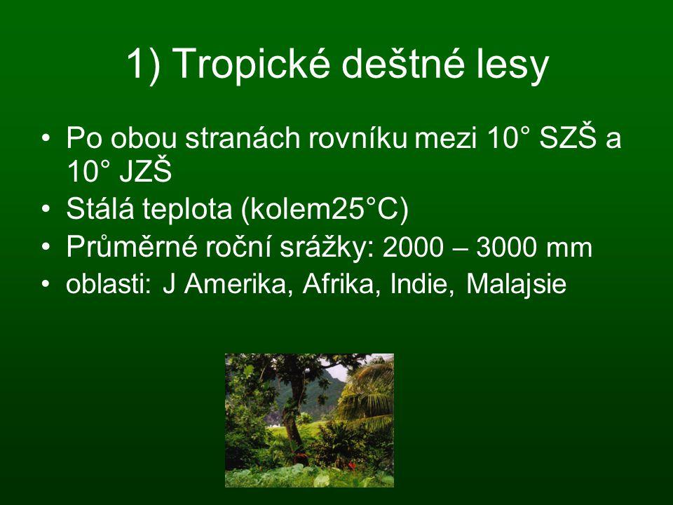 1) Tropické deštné lesy Po obou stranách rovníku mezi 10° SZŠ a 10° JZŠ Stálá teplota (kolem25°C) Průměrné roční srážky: 2000 – 3000 mm oblasti: J Ame