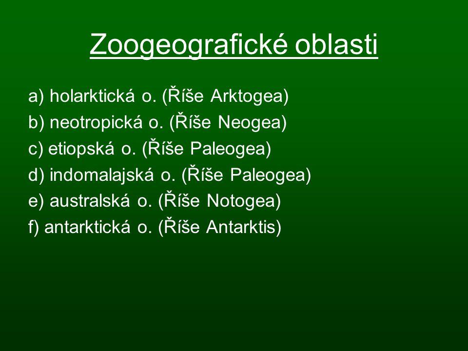 Zoogeografické oblasti a) holarktická o. (Říše Arktogea) b) neotropická o. (Říše Neogea) c) etiopská o. (Říše Paleogea) d) indomalajská o. (Říše Paleo
