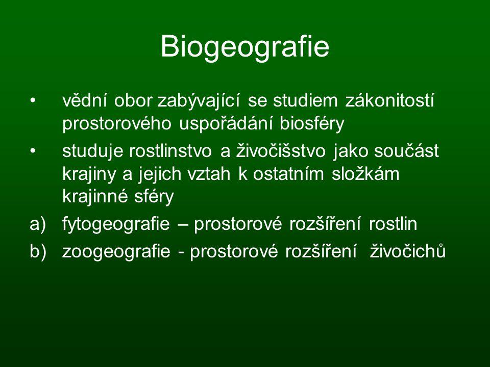 Biogeografie vědní obor zabývající se studiem zákonitostí prostorového uspořádání biosféry studuje rostlinstvo a živočišstvo jako součást krajiny a je