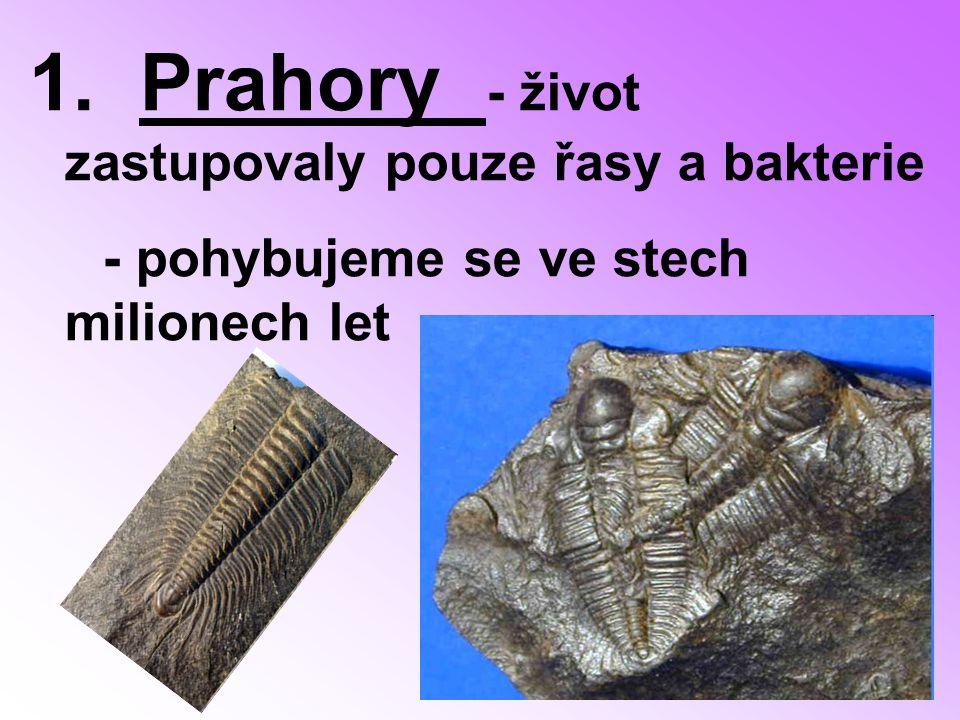 1. Prahory - život zastupovaly pouze řasy a bakterie - pohybujeme se ve stech milionech let