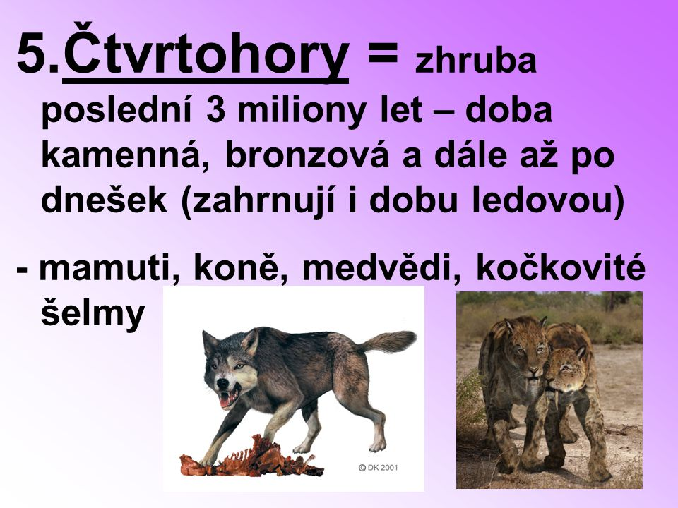 5.Čtvrtohory = zhruba poslední 3 miliony let – doba kamenná, bronzová a dále až po dnešek (zahrnují i dobu ledovou) - mamuti, koně, medvědi, kočkovité šelmy