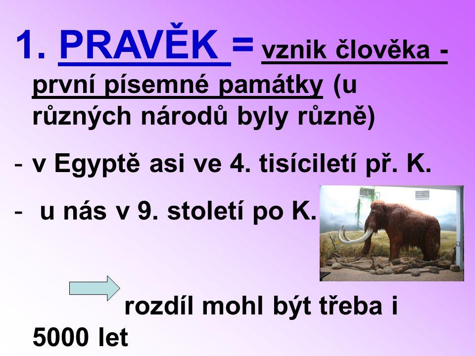 1.PRAVĚK = vznik člověka - první písemné památky (u různých národů byly různě) -v Egyptě asi ve 4.
