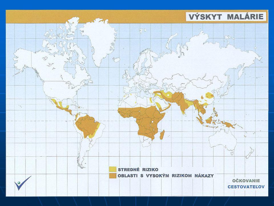NEMOCI Malárie – parazitární onemocnění (prvok rodu Plasmodium), přenáší komár rodu Anopheles Malárie – parazitární onemocnění (prvok rodu Plasmodium)