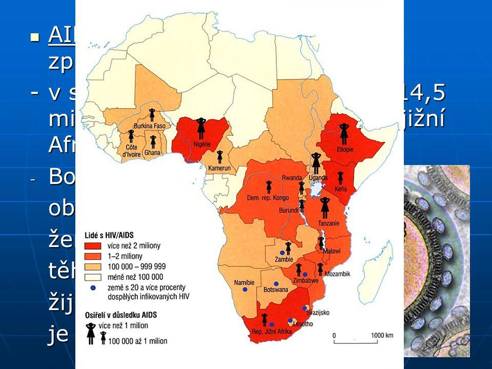 AIDS – virové onemocnění způsobené virem HIV AIDS – virové onemocnění způsobené virem HIV -v subsaharské Africe nakaženo 14,5 mil obyvatel, nejhorší s