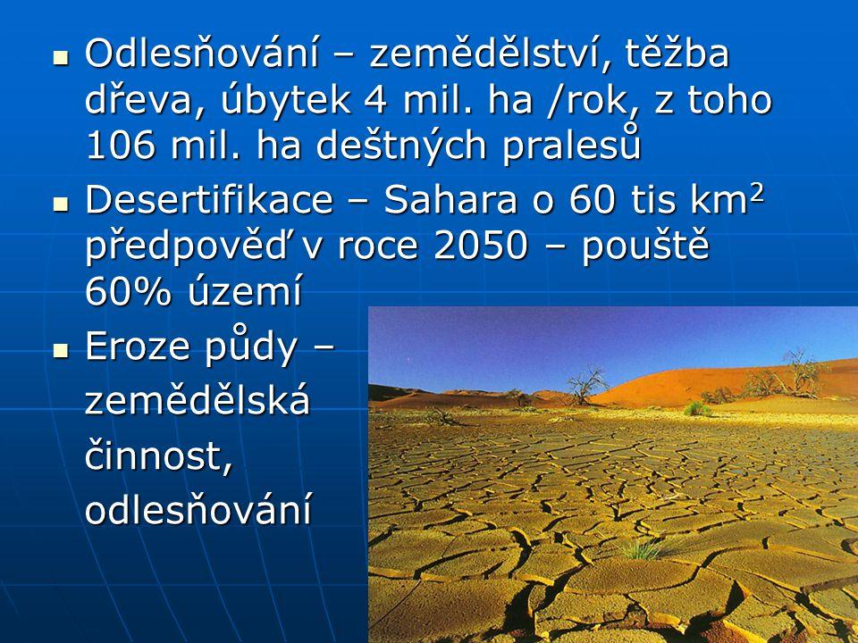 Odlesňování – zemědělství, těžba dřeva, úbytek 4 mil. ha /rok, z toho 106 mil. ha deštných pralesů Odlesňování – zemědělství, těžba dřeva, úbytek 4 mi