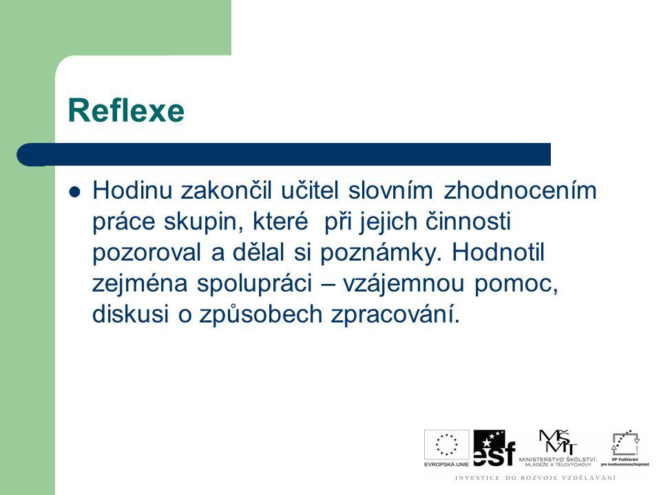 Reflexe Hodinu zakončil učitel slovním zhodnocením práce skupin, které při jejich činnosti pozoroval a dělal si poznámky. Hodnotil zejména spolupráci