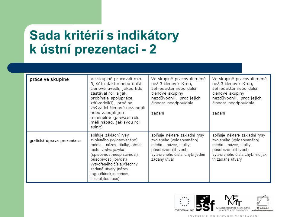 Sada kritérií s indikátory k ústní prezentaci - 2 práce ve skupině Ve skupině pracovali min. 3, šéfredaktor nebo další členové uvedli, jakou kdo zastá