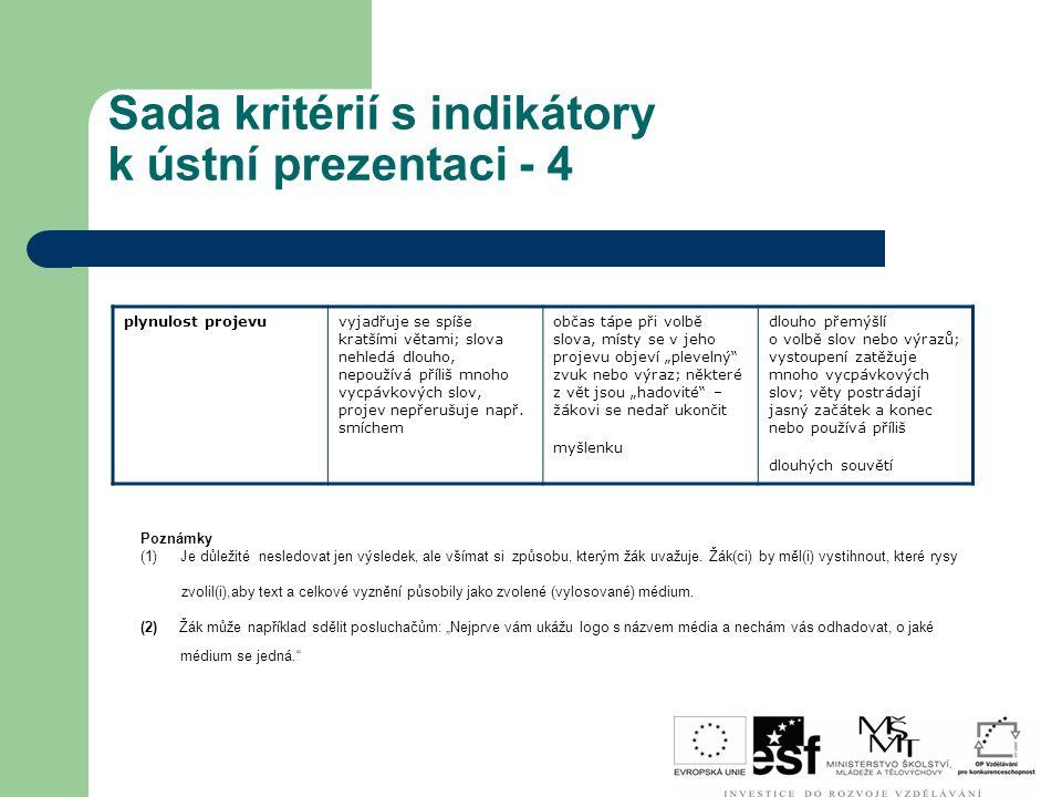 Sada kritérií s indikátory k ústní prezentaci - 4 plynulost projevuvyjadřuje se spíše kratšími větami; slova nehledá dlouho, nepoužívá příliš mnoho vy