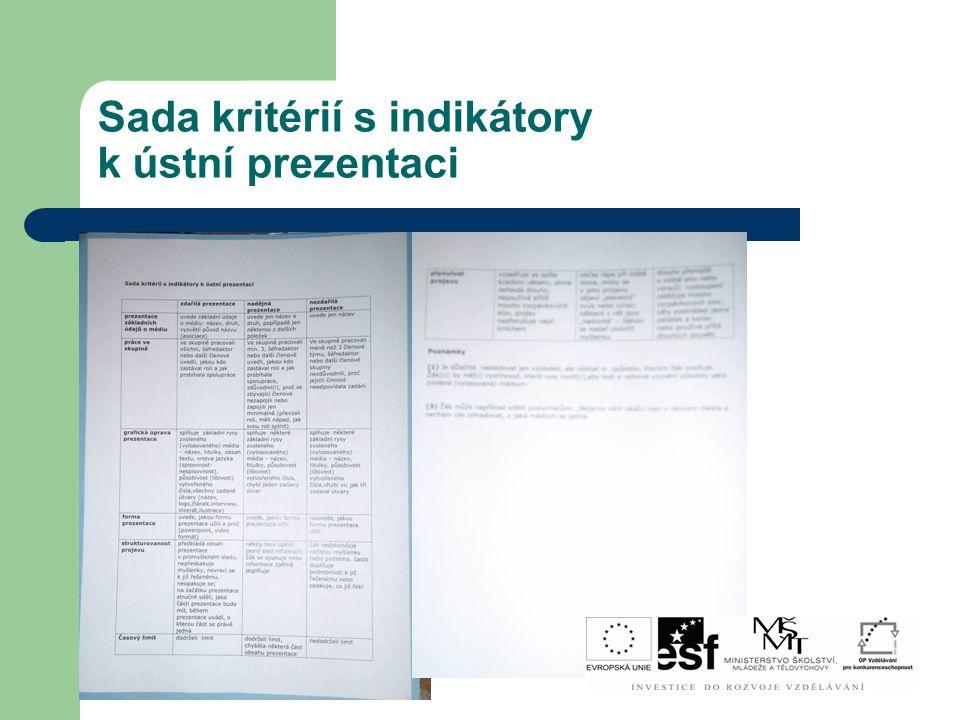 Sada kritérií s indikátory k ústní prezentaci