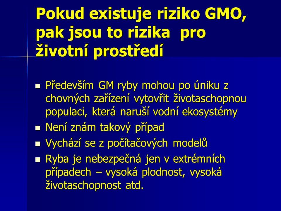 Pokud existuje riziko GMO, pak jsou to rizika pro životní prostředí Především GM ryby mohou po úniku z chovných zařízení vytovřit životaschopnou popul