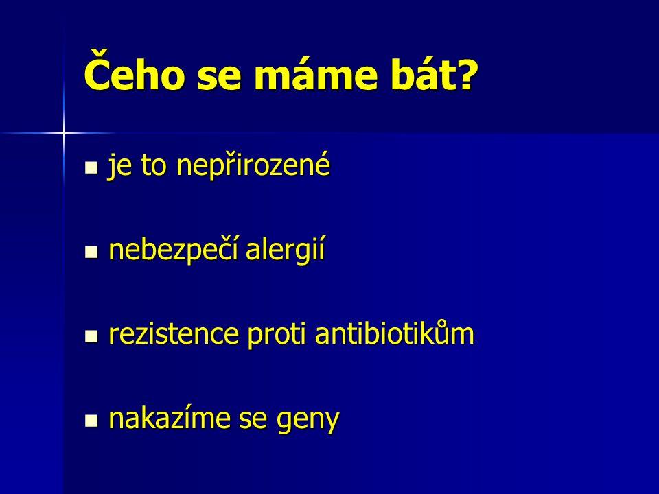 Čeho se máme bát? je to nepřirozené je to nepřirozené nebezpečí alergií nebezpečí alergií rezistence proti antibiotikům rezistence proti antibiotikům