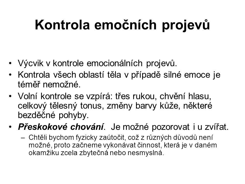 Kontrola emočních projevů Výcvik v kontrole emocionálních projevů. Kontrola všech oblastí těla v případě silné emoce je téměř nemožné. Volní kontrole