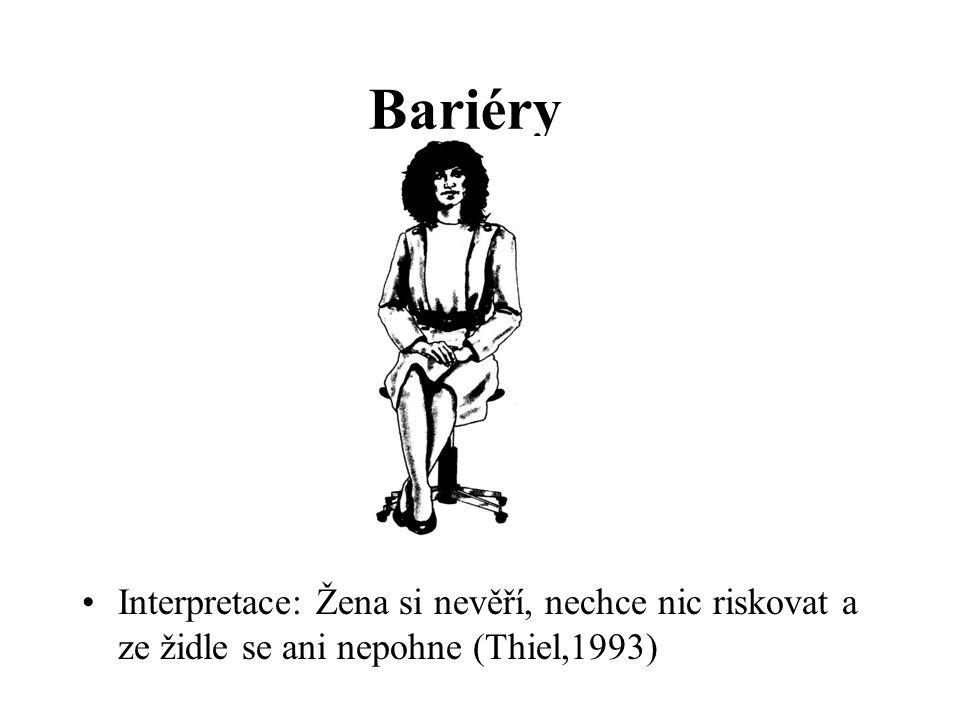 Bariéry Interpretace: Žena si nevěří, nechce nic riskovat a ze židle se ani nepohne (Thiel,1993)