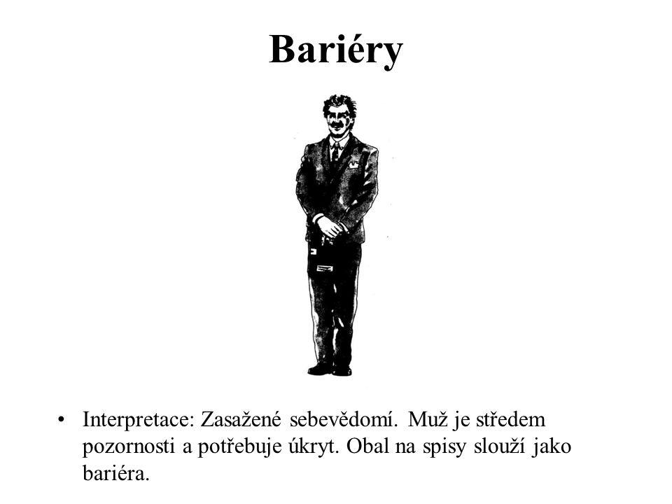Bariéry Interpretace: Zasažené sebevědomí. Muž je středem pozornosti a potřebuje úkryt. Obal na spisy slouží jako bariéra.