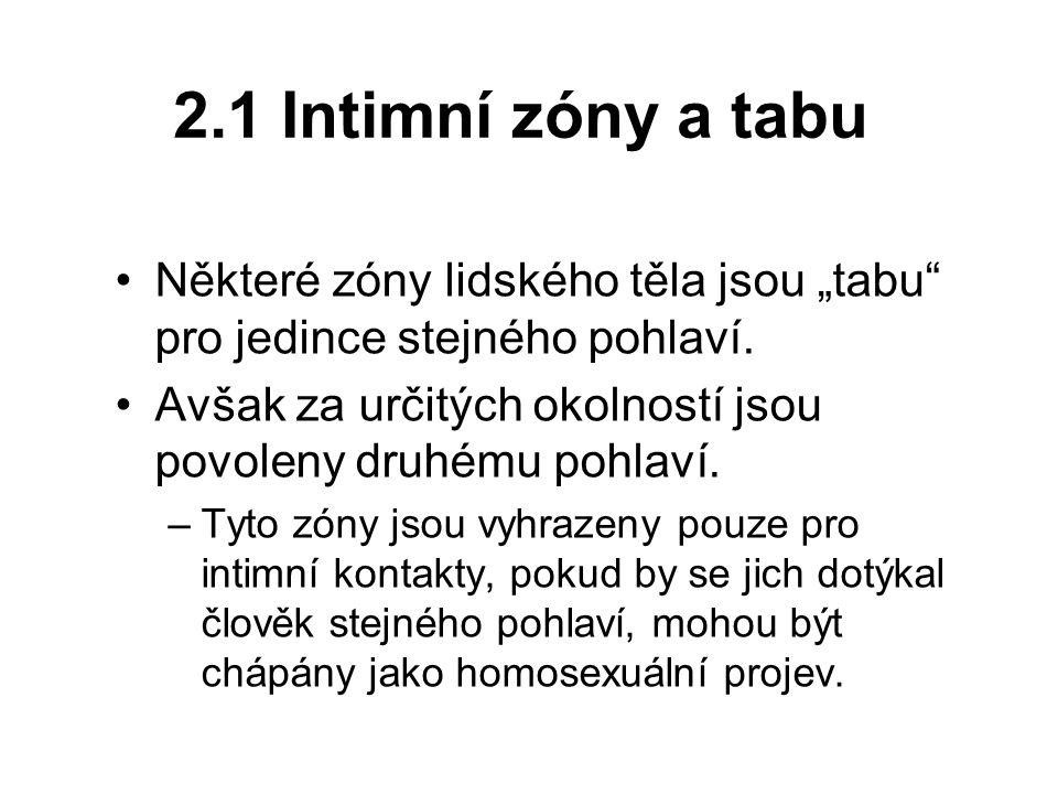"""2.1 Intimní zóny a tabu Některé zóny lidského těla jsou """"tabu"""" pro jedince stejného pohlaví. Avšak za určitých okolností jsou povoleny druhému pohlaví"""