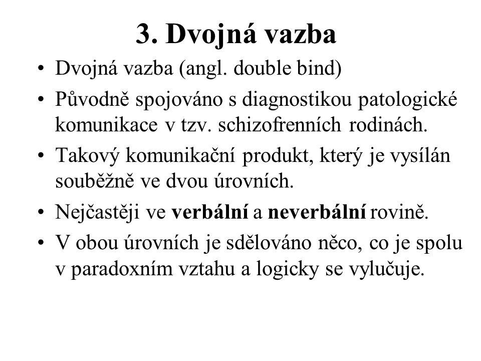 3. Dvojná vazba Dvojná vazba (angl. double bind) Původně spojováno s diagnostikou patologické komunikace v tzv. schizofrenních rodinách. Takový komuni