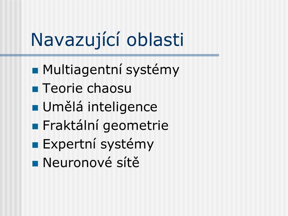 Navazující oblasti Multiagentní systémy Teorie chaosu Umělá inteligence Fraktální geometrie Expertní systémy Neuronové sítě