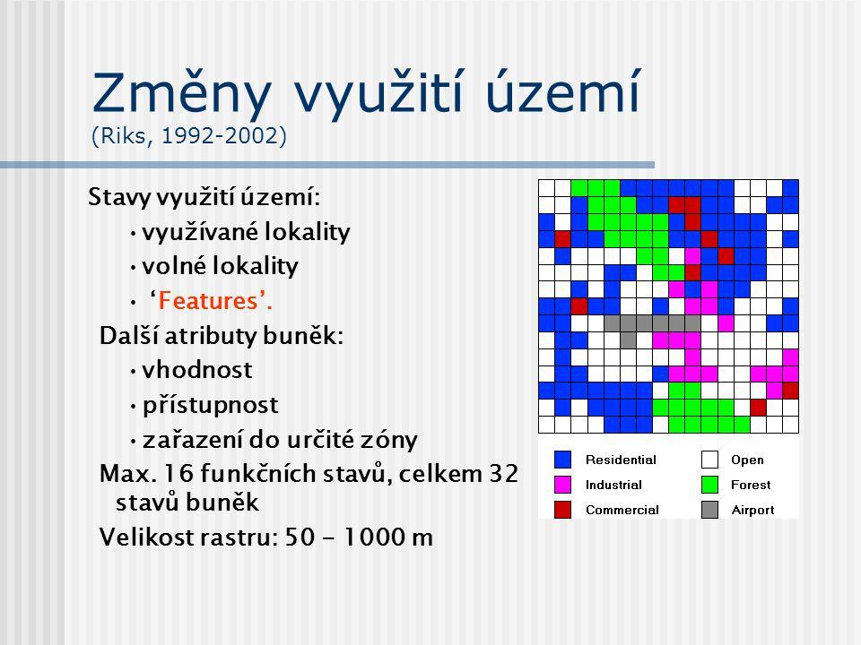 Změny využití území (Riks, 1992-2002) Stavy využití území: využívané lokality volné lokality 'Features'. Další atributy buněk: vhodnost přístupnost za