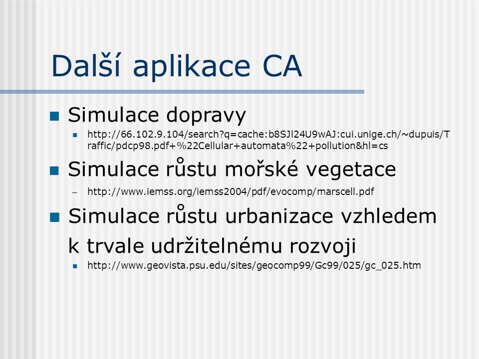 Další aplikace CA Simulace dopravy http://66.102.9.104/search?q=cache:b8SJl24U9wAJ:cui.unige.ch/~dupuis/T raffic/pdcp98.pdf+%22Cellular+automata%22+po