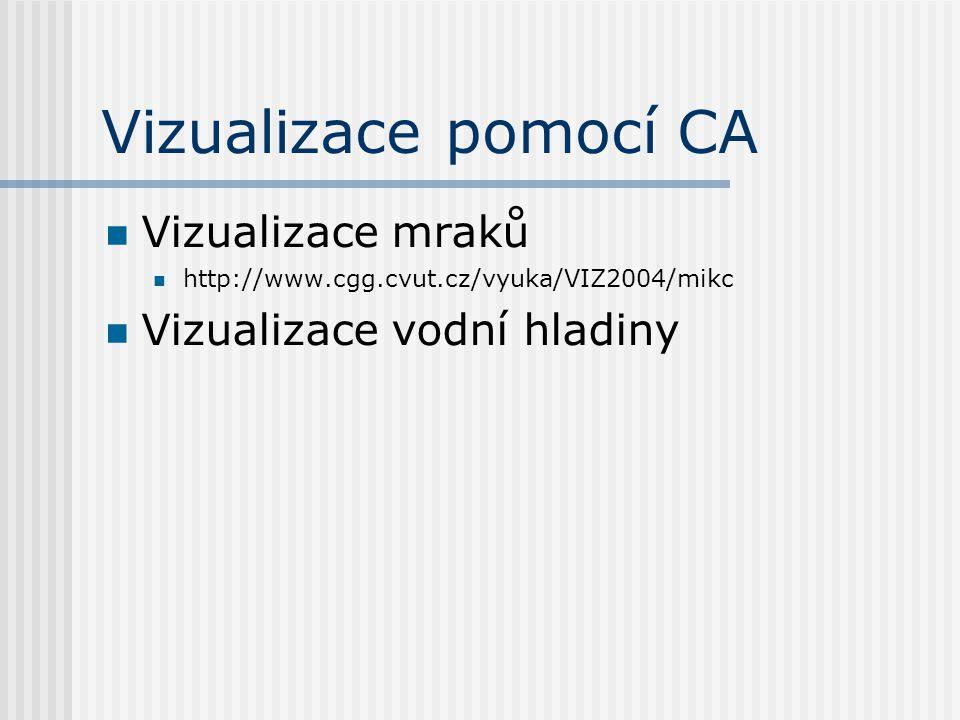 Vizualizace pomocí CA Vizualizace mraků http://www.cgg.cvut.cz/vyuka/VIZ2004/mikc Vizualizace vodní hladiny