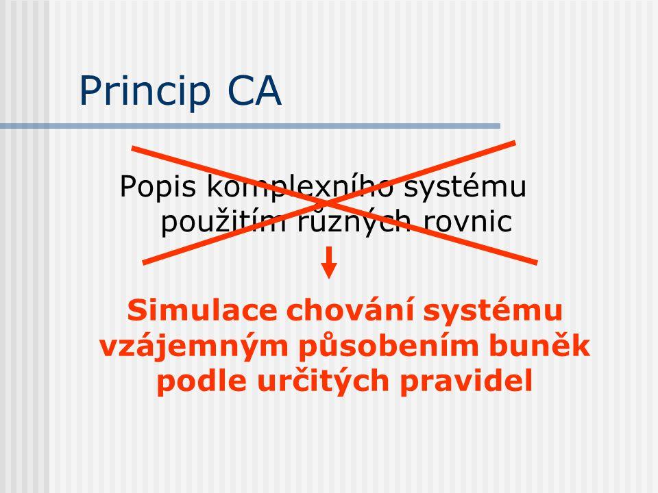 Princip CA Popis komplexního systému použitím různých rovnic Simulace chování systému vzájemným působením buněk podle určitých pravidel