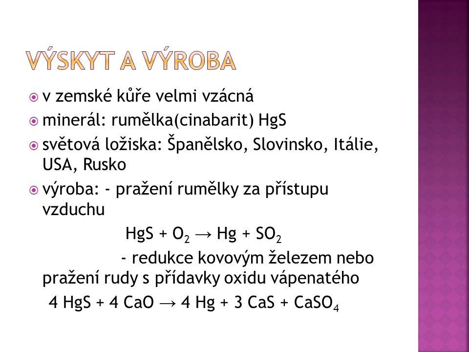  v zemské kůře velmi vzácná  minerál: rumělka(cinabarit) HgS  světová ložiska: Španělsko, Slovinsko, Itálie, USA, Rusko  výroba: - pražení rumělky za přístupu vzduchu HgS + O 2 → Hg + SO 2 - redukce kovovým železem nebo pražení rudy s přídavky oxidu vápenatého 4 HgS + 4 CaO → 4 Hg + 3 CaS + CaSO 4