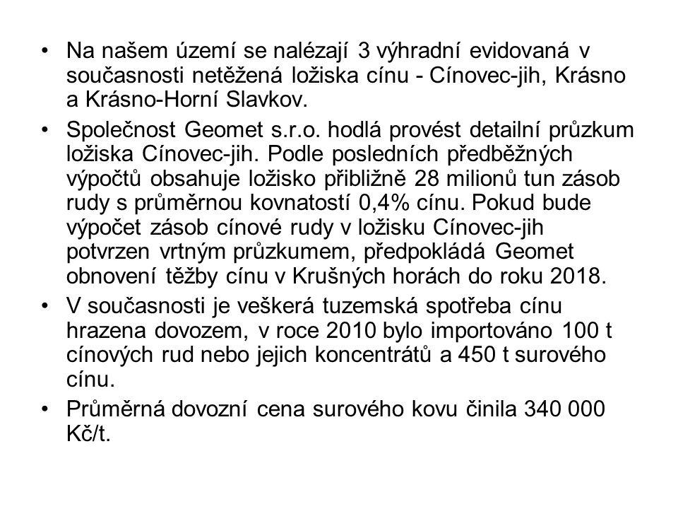 Na našem území se nalézají 3 výhradní evidovaná v současnosti netěžená ložiska cínu - Cínovec-jih, Krásno a Krásno-Horní Slavkov. Společnost Geomet s.