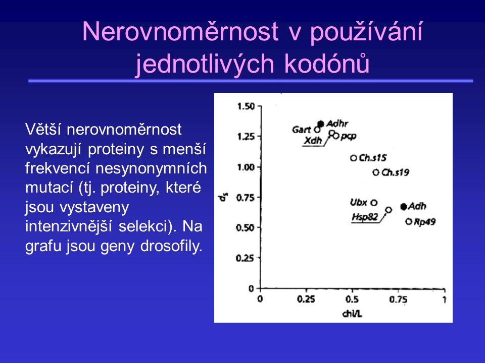 0,20,40,60,80 nerovnoměrnost v používání kodónů (x 2 ) index využití preferovaných kodónů (CAI) 0 10 20 30 40 3,84 7,82 Nerovnoměrností v používání synonymních kodónů u E.