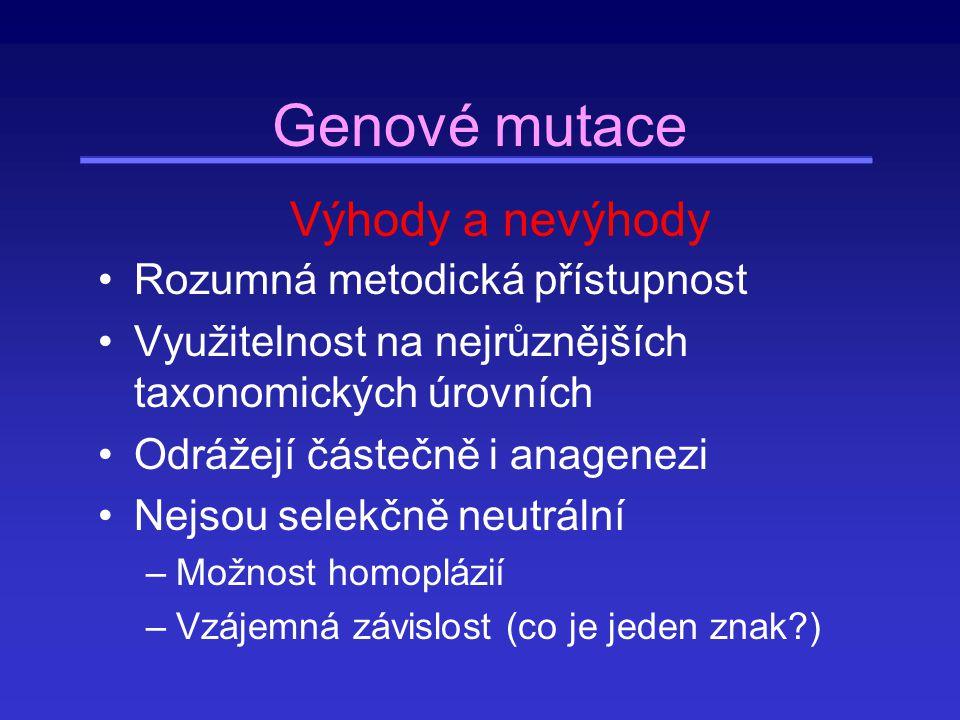 Záměnové mutace Transverze - transice (pyrimidin C, T, puriny A, G) –Transice (4×) A  G, G  A, C  T, T  C –Transverze (8×) A  C, A  T, C  A, C  G, T  A, T  G, G  C, G  T Synonymní, nesynonymní –synonymní x silent!!.