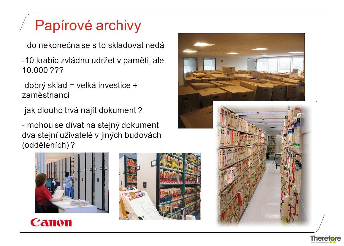 Papírové archivy - do nekonečna se s to skladovat nedá -10 krabic zvládnu udržet v paměti, ale 10.000 ??.