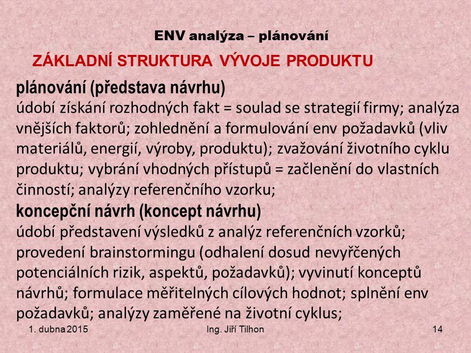 1. dubna 2015Ing. Jiří Tilhon14 ENV analýza – plánování ZÁKLADNÍ STRUKTURA VÝVOJE PRODUKTU plánování (představa návrhu) údobí získání rozhodných fakt