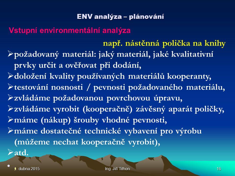 1. dubna 20151. dubna 20151. dubna 2015Ing. Jiří Tilhon16 ENV analýza – plánování Vstupní environmentální analýza např. nástěnná polička na knihy  po