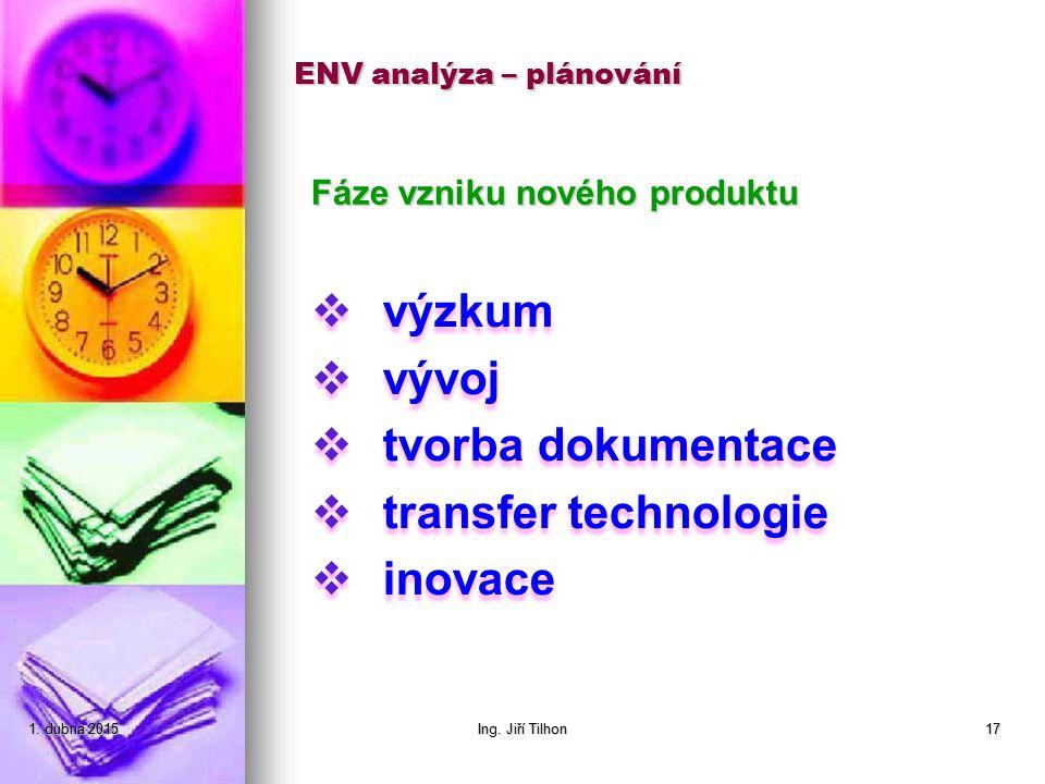 ENV analýza – plánování Fáze vzniku nového produktu 1. dubna 20151. dubna 20151. dubna 2015Ing. Jiří Tilhon17  výzkum  vývoj  tvorba dokumentace 