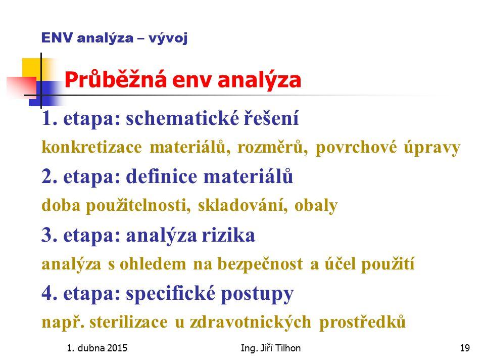 1. dubna 2015Ing. Jiří Tilhon19 ENV analýza – vývoj Průběžná env analýza 1. etapa: schematické řešení konkretizace materiálů, rozměrů, povrchové úprav