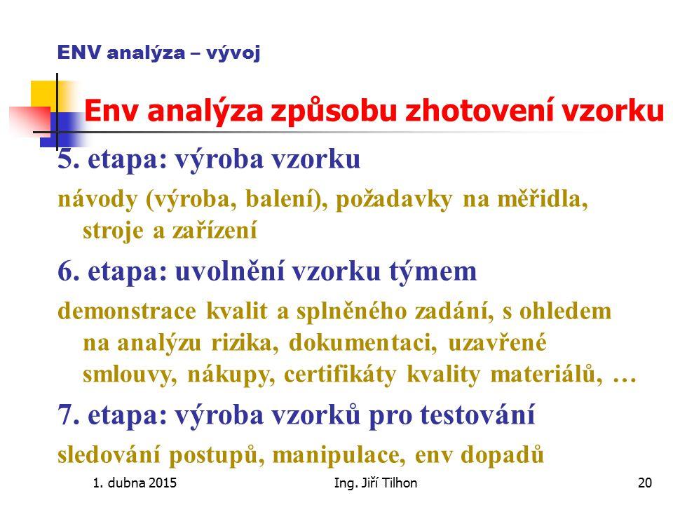 1. dubna 2015Ing. Jiří Tilhon20 ENV analýza – vývoj Env analýza způsobu zhotovení vzorku 5. etapa: výroba vzorku návody (výroba, balení), požadavky na