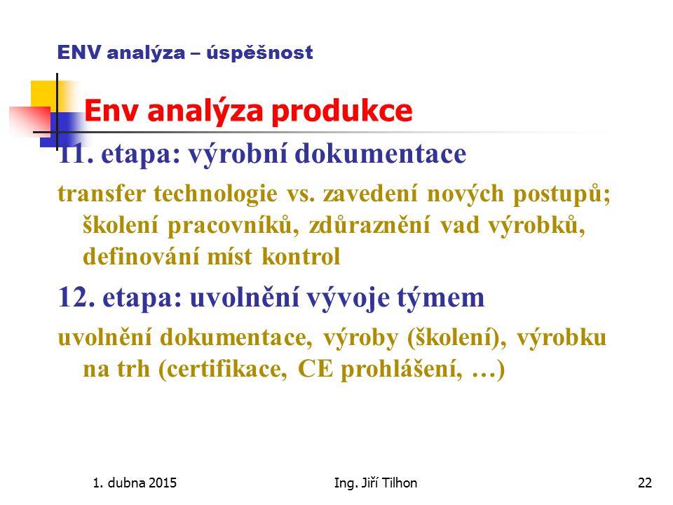 1. dubna 2015Ing. Jiří Tilhon22 ENV analýza – úspěšnost Env analýza produkce 11. etapa: výrobní dokumentace transfer technologie vs. zavedení nových p